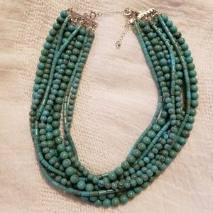 Faux Turquoise Multi-Strand Beaded Necklace